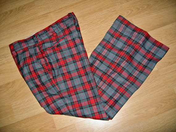 vintage 1970s BELL Bottoms pants PLAID red gray wool 37 x 32