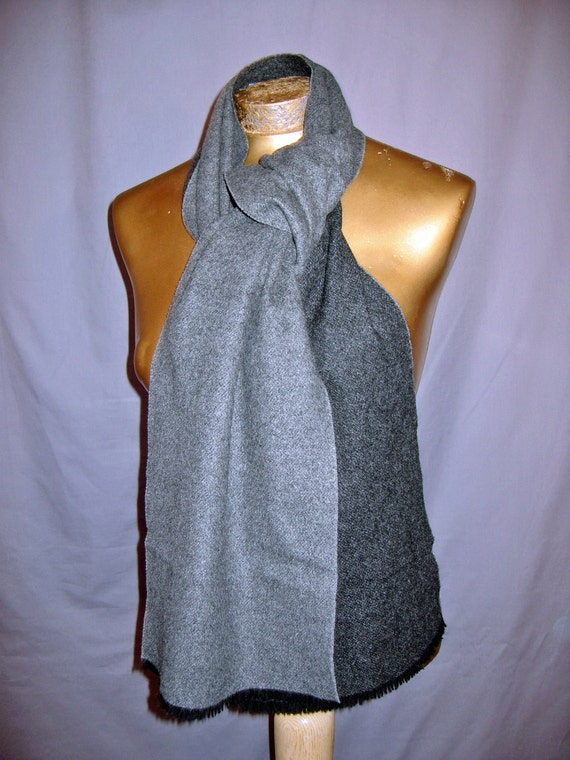 vintage 1960s scarf charcoal gray CASHMERE neck scarf