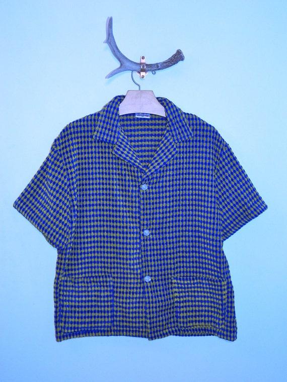 vintage 1960s shirt Terry Cloth Cabana button front M 60s