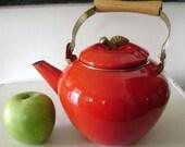 Red Apple Enamelware Teapot