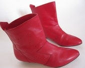 Vintage Red Leather 80s Ankle Boots