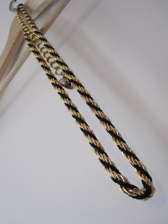 B and G - Black and Gold Twisted Rope Belt