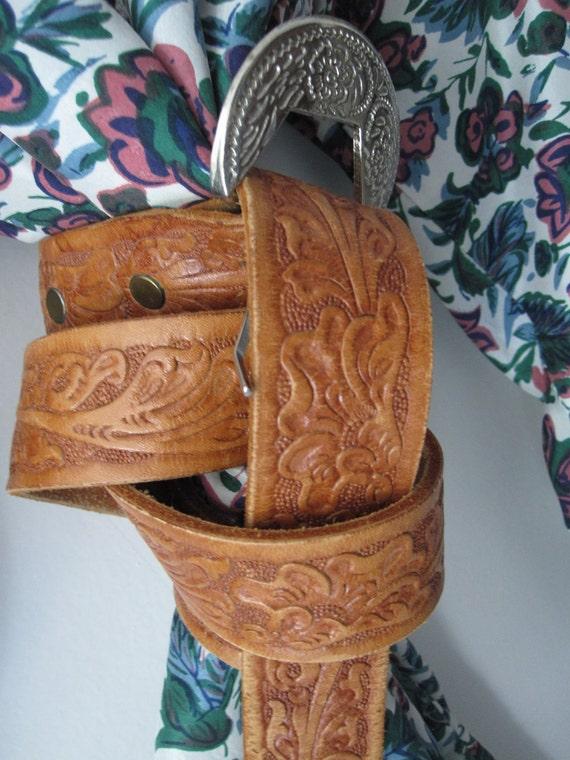 Leathered - Vintage Brown Leather Western Silver Buckle Belt