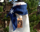 Snowman Tree Topper with Top Hat and Flannel Scarf|Christmas Tree Topper