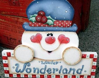 Whimsical Winter Wonderland Snowman Sign