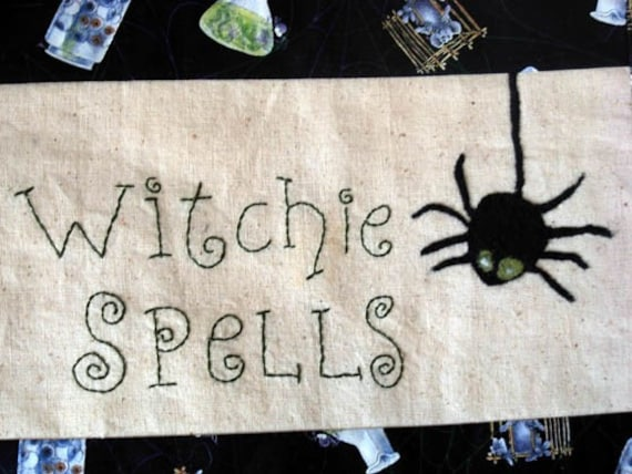 Needle Felt Wall Hanging - Witchie Spells with Spider