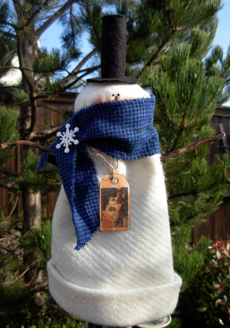 Snowman Tree Topper With Top Hat And Flannel Scarfchristmas