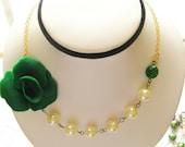 Maria Elena Jewelry ... Asymmetrical Irish Lady Romantic Rose Cabochon Pearl Necklace