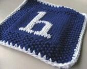 Letter H Knit Monogrammed Cloth