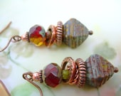 Copper Pines - Czech Bead Earrings