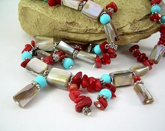 Apple Coral Brown Shell Turquoise and Desert Sand Beads Silver Dangle Earrings