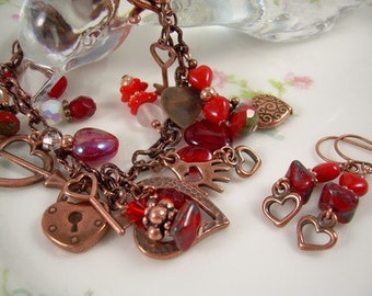Copper Boho Charm Bracelet Valentine Day Red Czech Beads With Matching Earrings Gypsy Style