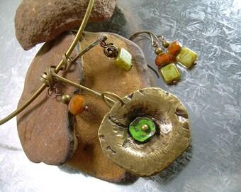 Mixed Metal Antiqued Brass Choker And Earring Set Handmade Czech & Picasso Beads