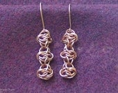 Copper Chainmaille Earrings,  Full-Persian Ladder