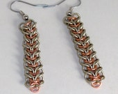 Chainmaille Earrings in Nickel Silver and Copper, Hanging Lace