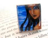 Azula Iman Blue Wood Tile Adjustable Ring