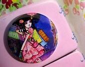Harajuku Tokyo Fashion Girl Round Art Magnet