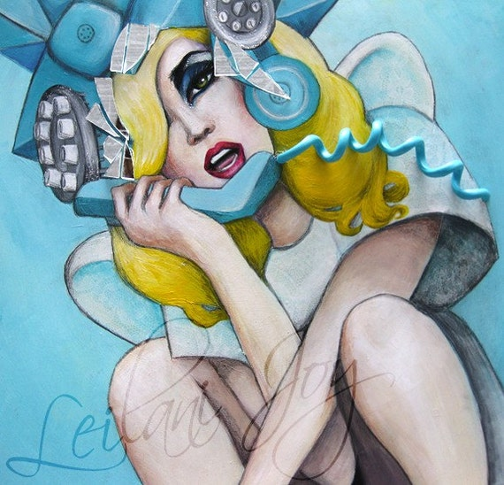 Lady Gaga Telephone 11 x 14 Original Art Illustration Poster Print