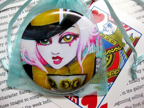 Mad Hatter Girl Pocket Mirror Wonderland Art