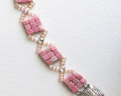 Pink Rhodonite Cubes Bracelet fashion jewelry plus size