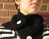 Black Cable Knit Neck Warmer Scarflette