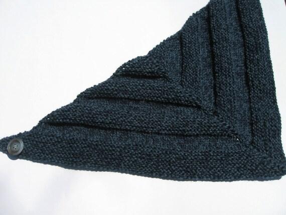 Hand Knit Bandana Scarf - Denim Blue