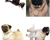Lot Of 4 Pug Dog Fabric Panel Quilt Squares