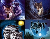 Lot Of 12 Wolves & Indians Fabric Panel Quilt Square Blocks