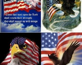 Lot Of 4 Patriotic Eagle LOOK Fabric Panel Quilt Squares