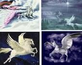 Lot Of 4 Pegasus Fabric Panel Quilt Squares