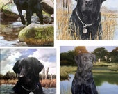 Lot Of 12 Black Lab Dog Fabric Panel Quilt Square Blocks