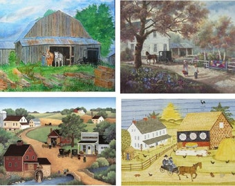 Lot Of 4 Amish Landscape Fabric Panel Quilt Squares