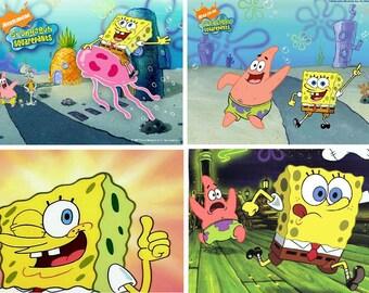 Lot Of 4 SpongeBob Squarepants Fabric Panel Quilt Squares