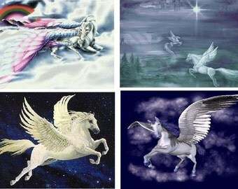 Lot Of 4 Pegasus Fabric Panel Quilt Squares