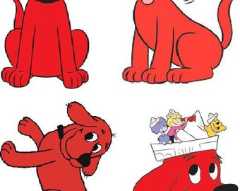 Lot Of 4 Clifford The Big Red Dog Fabric Panel Quilt Squares