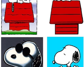 Lot Of 4 Snoopy Fabric Panel Quilt Squares