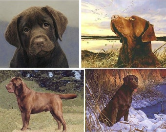 Lot Of 6 Chocolate Lab Dog Fabric Panel Quilt Squares