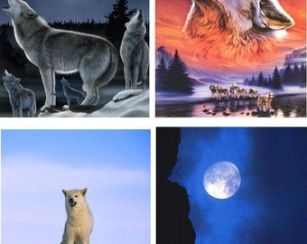 Lot Of 12 Wolves Wolf Fabric Panel Quilt Square Blocks