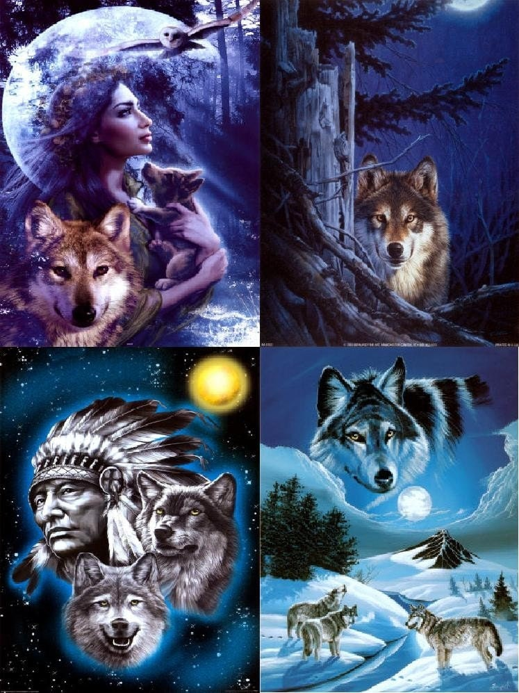 Lot Of 12 Wolves Amp Indians Fabric Panel Quilt Square Blocks