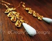 Vintage Blue and Gold Petal Earrings
