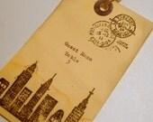 custom escort cards, skyline,  Wedding, Destination, Travel, vintage theme, hand typed, set 10