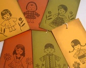 doll tags, around the world variety of 6 dolls, vintage inspired set of 12