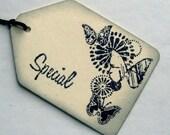 wedding favor tags, butterflies, rustic, vintage inspired,, set 10