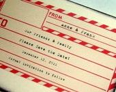 travel save the date, rustic invitation, airmail destination card, envelope, set 12