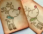 Rustic christmas gift tags, napkin rings, reindeer, coffee stained, color added, set of 12
