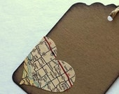 Travel luggage tag, small favor destination, recycled Map Heart, set of 12