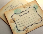 Travel invitation and rsvp card set, destination, generic, custom colors hand stamped, set of 10