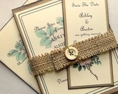 Shabby wedding invitation suite, floral wild rose flower, burlap, button save the date, 7 piece, set 15