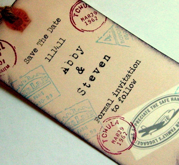 Save the date rustic travel wedding rustic luggage tag bookmark, Design fee, RESERVED for Laura