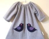 Girl dress, Grey fleece ducky dress with little felt pockets